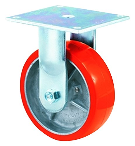 E.R. Wagner Plate Caster, Rigid, Polyurethane on Aluminum Wheel, Roller Bearing, 1200 lbs Capacity, 6'' Wheel Dia, 2'' Wheel Width, 7-1/2'' Mount Height, 4-1/2'' Plate Length, 4'' Plate Width