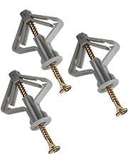 Gipsplaten bevestigingen, Gipsplaten wandstekkers & schroeven, uitbreiden van superieure strakke grip, sterke Hold, holle gipsplaten holte ruwe muurbevestigingen- verzonken schroeven (50Anchor + 50Schroef) 100 stuks
