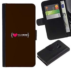 Planetar® Modelo colorido cuero carpeta tirón caso cubierta piel Holster Funda protección Para Samsung Galaxy S3 MINI i8190 (NOT S3) ( El amor del Corazón mamá Madre Familia Cita )
