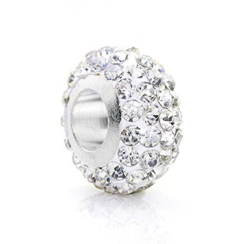 JewelrieShop 6 Pcs Crystal Rhinestones Spacer Charm Big Hole European Beads for Bracelet ()