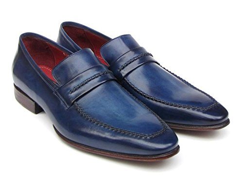 Paul Parkman Men's Loafer Shoes Navy Leather Upper and Leather Sole (ID#068) (EU 41 – US 8/8.5) (Shoes Italian Handmade Leather Loafer)