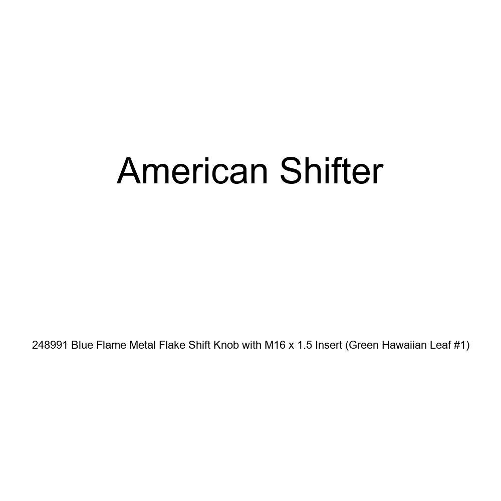 American Shifter 248991 Blue Flame Metal Flake Shift Knob with M16 x 1.5 Insert Green Hawaiian Leaf #1