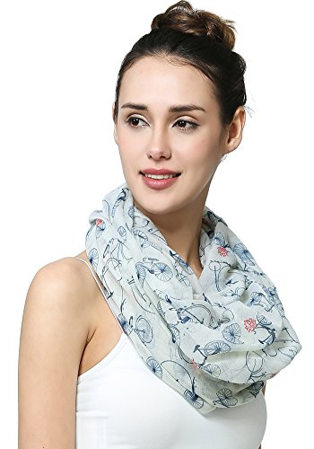 MissShorthair Women's Fashion Soft Cool Bicycle Pattern Sheer Infinity Scarf (White)