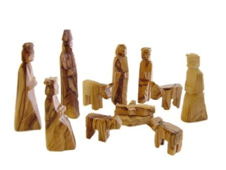 Olive Wood Children's Nativity Set Kid's Nativity Story Figurines (12 Pieces Set) by Bethlehem Gifts TM (3 inches) (Small Nativity Stable)