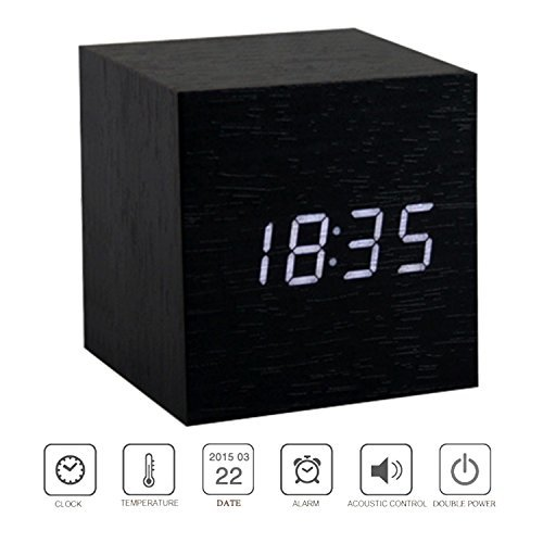 PerryLee Wood Wooden Cube Digital LED Light Desk Travel Mute