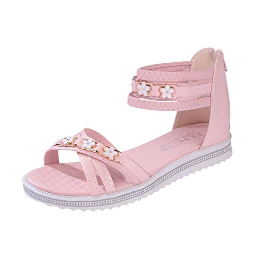 Summer Sandals, Inkach Women Flat Shoes Summer Soft Leather Sandals Peep-Toe Roman Shoes Pink