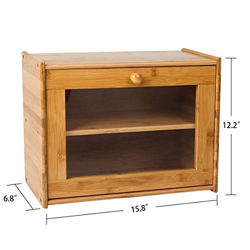 Layer Large Capacity Bread Box Countertop Bread Storage Bread Boxes for Kitchen Counter Retro Bread Bin with Transparent Window INDRESSME Bamboo 2