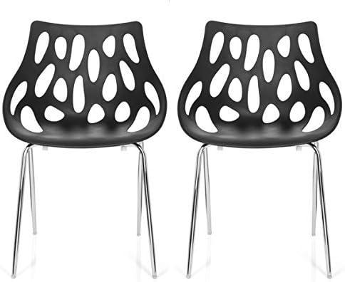 hjh OFFICE 723054 silla de confidente BRIGHT (lote de 2 / 2 sillas) plástico negro silla visitante apilable