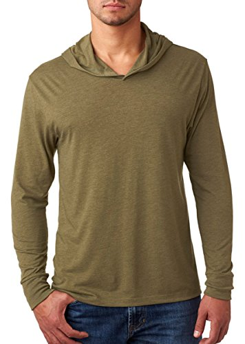 Next Level Apparel Men's Tri-Blend Rib Knit Hoodie, Military Green, - Sport Shirt Knit Blended Jersey