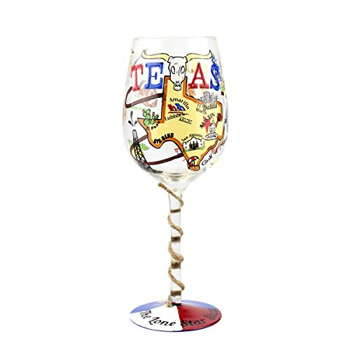 Stars Design Hand Painted Goblet - Top Shelf TS-4587A Texas Wine glass, 15 oz, Multicolored