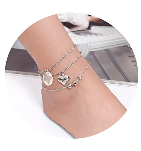 3 Pcs Anklets for Women Beach Anklets Bracelets Ankle Chains Foot Jewelry Set Heart Bead Butterfly Acrylic Pendant Anklets Adjustable (Silver tone)