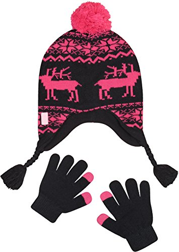 Price comparison product image 'U.S. Polo Assn. Girl\'s Peruvian Hat and Glove Set, Black/Fuchsia, Size 7-16'
