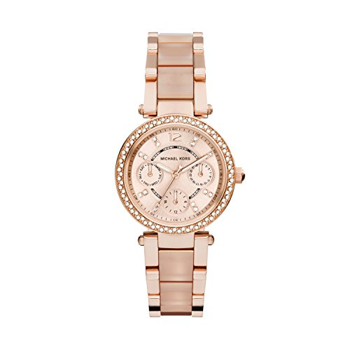Michael Kors Parker Rose Dial Rose Gold SS Chrono Quartz Ladies Watch MK6110