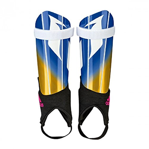 - adidas Performance Messi 10 Youth Shin Guards, White/Blue/Shock Pink/Solar Gold, Small
