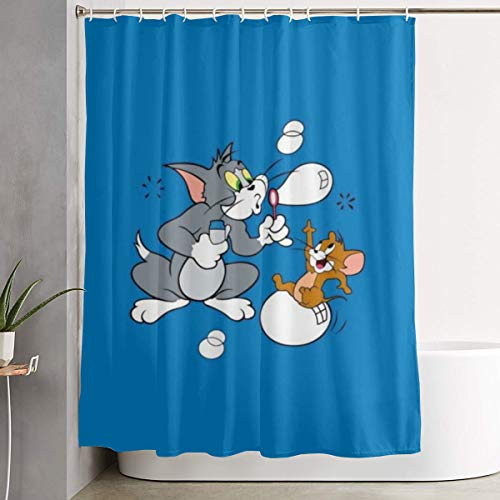 Duwamesva Shower Curtain Happy Tom and Jerry Art Print, Polyester Fabric Bathroom Decorations Collection with Hooks- 60 X 72 Inch]()