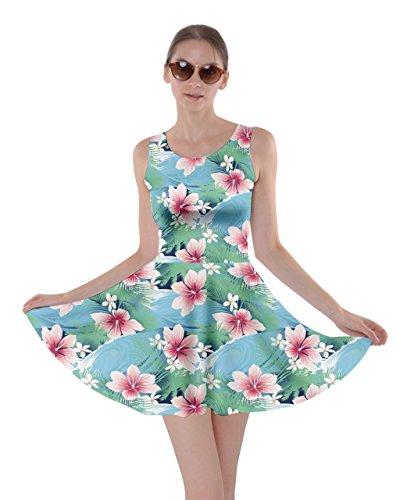 Cowcow Pour Femmes Hawaii Hibiscus Fleurs Tropicales Feuilles Florales Robe Patineuse Fête D'été, Xs-5xl Hawaï Turquoise