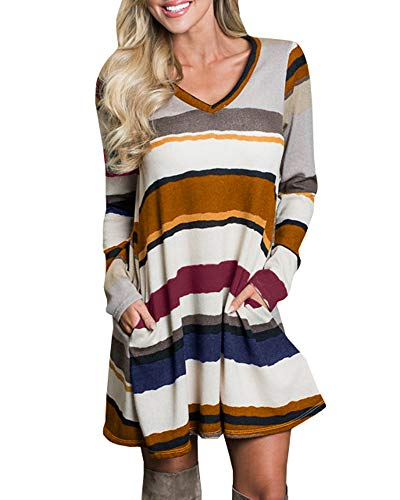 CNJFJ Womens Color Block T Shirt Dress Long Sleeve Loose Swing Tunic Dress with Pockets Brown