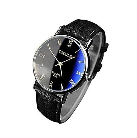 Forthery Men Analog Quartz Brown PU Leather Blue Ray Wrist Watch (Geneva See Through Watch)