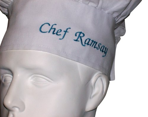 KIDS CHILDREN WHITE CHEF HAT PERSONALIZED EMBROIDERY 2 NAMES CHOOSE THREAD COLOR Ex...Theresa Marie....OR Chef Stephanie OR Chef Mario, ETC