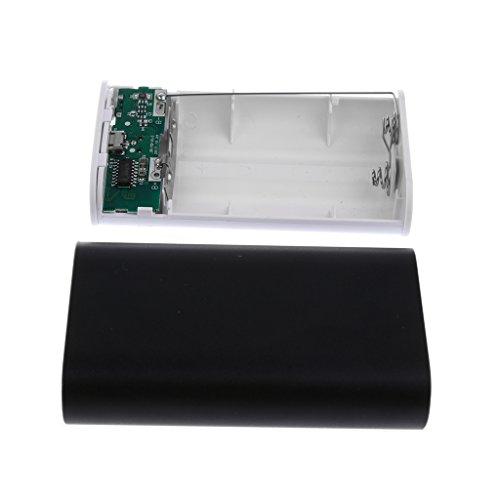 MagiDeal 1 Caja con 2 USB Puerto 2 X 18650 Banco de Energía Batería Caja Cargador para Teléfonos Mp3 - Negro Negro