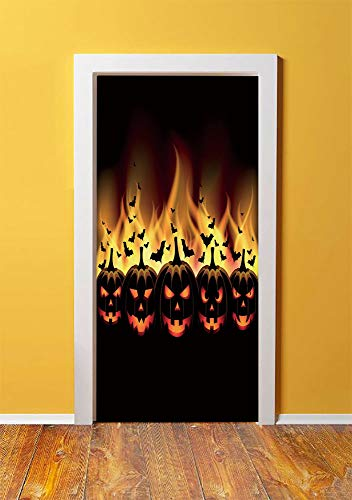 Vintage Halloween 3D Door Sticker Wall Decals Mural Wallpaper,Happy Halloween Image with Jack o Lanterns on Fire with Bats Holiday Decorative,DIY Art Home Decor Poster Decoration 30.3x78.1032,Black -