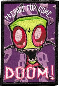 (Invader Zim Prepare For Doom Logo Embroidered Iron On Patch IZ-23)
