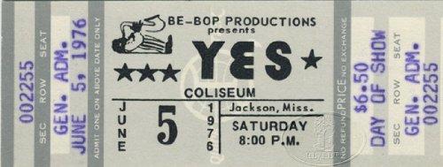 Yes 1976 Relayer U.S. Summer Tour Unused Concert Ticket 6/5/76