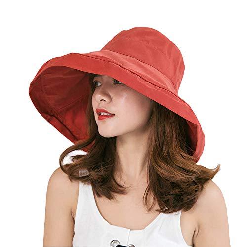 iHomey Women Wide Brim Sun Hats Foldable UPF 50+ Sun Protective Bucket Hat Red