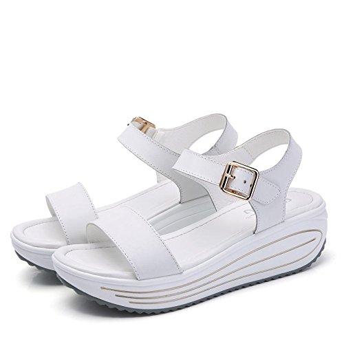 Xing Lin Sandalias De Mujer Señoras Sandalias Nuevo Verano Casual Con Zapatos De Cuero Zapatos Sacude Los Estudiantes white