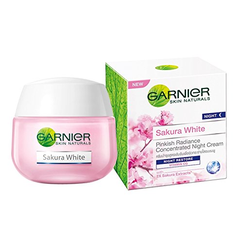 Night Essence Cream (Garnier Sakura White Pinkish Radiance Sleeping Essence Night Restore Cream 50ml)