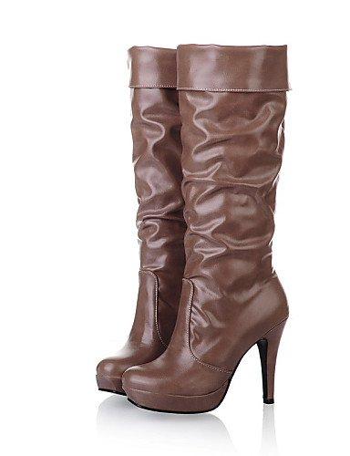 Casual Uk3 Zapatos 5 Moda Punta Redonda Blanco Semicuero De Caqui Mujer Uk4 Tacón Khaki Cn35 White us5 Botas 5 Stiletto A La Negro Cn36 Eu36 us6 Xzz PfxSqdwP