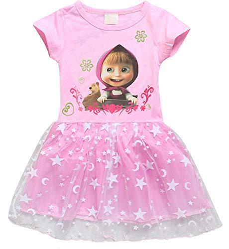 - LEMONBABY Girls Masha and Bear Long Sleeve Skirt Casual Dress Dot Printed (6-7Y, Short)