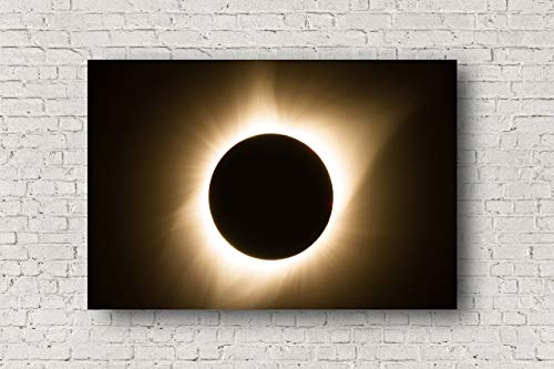 Total Solar Eclipse on Canvas - Gallery Wrap Wall Art of Great American Eclipse in Totality Home Decor 8x10-30x40 by Southern Plains Photography
