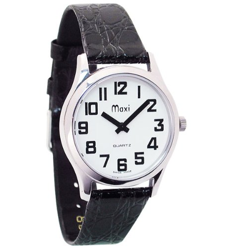 Mens Chrome Low Vision Watch - Leather Band