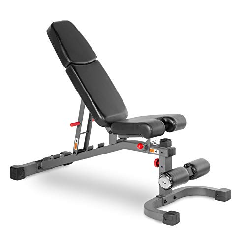 XMark Adjustable Weight Bench with Flat, Incline, and Decline Adjustments to Full Decline for Military Press, 7 Positions, 11-Gauge Steel Mainframe, 3-Position Seat, and Adjustable Leg Holder