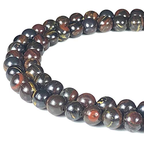 [ABCgems] Australian Red Tiger Iron (Combination of Black Hematite, Tiger's Eye & Red Jasper) 6mm Smooth Round Beads for Beading & Jewelry Making