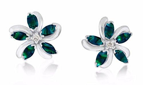 Natural Color Change Alexandrite Diamond EarRing in 14 K White Gold ()