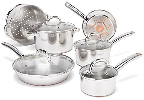 T-fal C836SA Ultimate Stainless Steel Copper-Bottom Heavy Gauge Multi-Layer Base Cookware Set, 10-Piece, Silver by T-Fal
