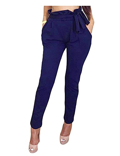 Tempo Eleganti Inclusa Pantaloni Semplice Glamorous High Navy Harem Pantaloni Vintage Jogging Primaverile Cintura Blau Libero Autunno Pantalone Monocromo HaiDean Donna Moda Waist Pantaloni 4qz7AY
