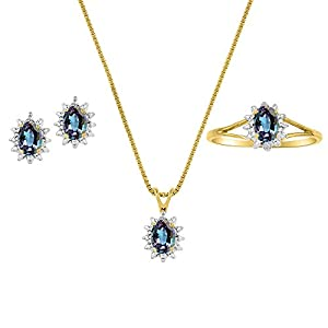June Birthstone Simulated Alexandrite in Sterling Silver or Yellow Gold Plated Silver 925