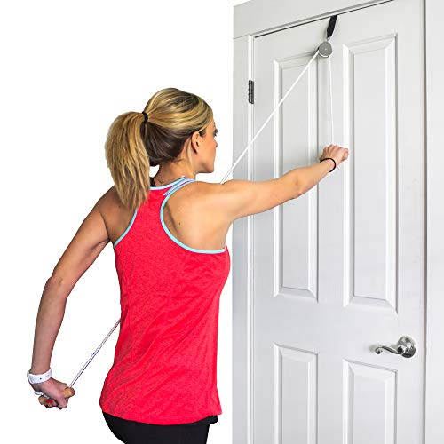 Physical Therapy Pulley - DMI Over the Door Shoulder Pulley for Physical Therapy helps Increase Mobility and Maneuverability on Injured, Elderly or Disabled with Easy to Grip Wooden Dowel Handles, White
