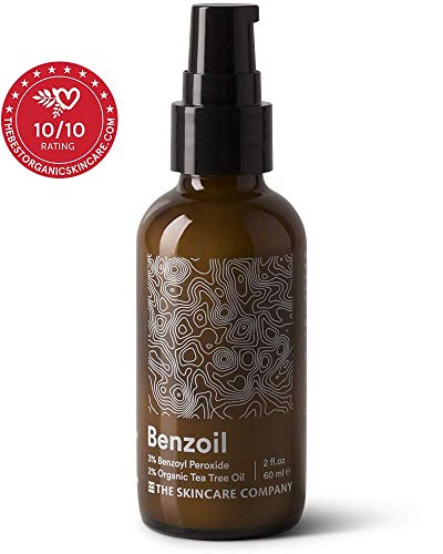 Benzoil - 3% Benzoyl Peroxide & 2% Tea Tree Oil Rapid Acne & Spot Treatment Serum - 70% Organic, Preservative-Free, Normal & Cystic Acne - 2 oz