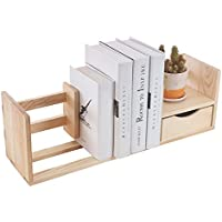 Natural Unfinished Wood Desktop Bookshelf & Organizer Caddy / Storage Shelf Rack w/ Drawer - MyGift