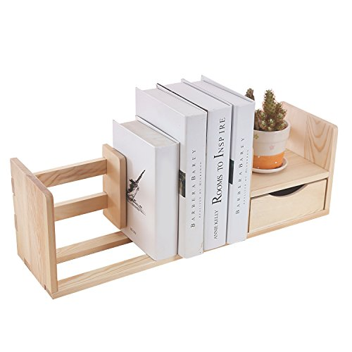 Natural Unfinished Wood Desktop Bookshelf & Organizer Caddy / Storage Shelf Rack w/ Drawer - MyGift®