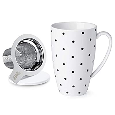 Sweese Porcelain Tea Mug with Infuser and Lid, 15 OZ, Multi-pattern