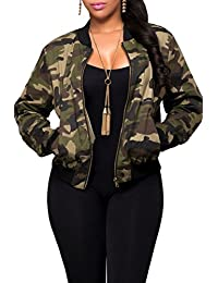 Women Fall Casual Camouflage Print Zip Up Army Military Camo Bomber Jacket Outcoat