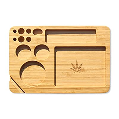 Bamboo Rolling Tray 9 x 6 Inches Cut Outs For Rolling Paper Grinder Pre Rolled Cones And More by Discreet Smoker