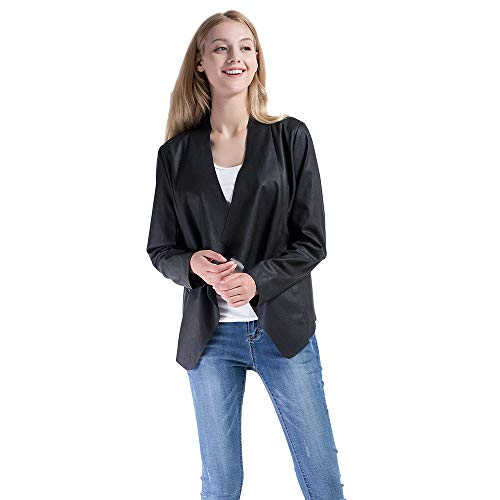 Vero Viva Women's PU Faux Leather Open Front Blazer Coat Long Sleeve Suit Jacket(XL,Black) -