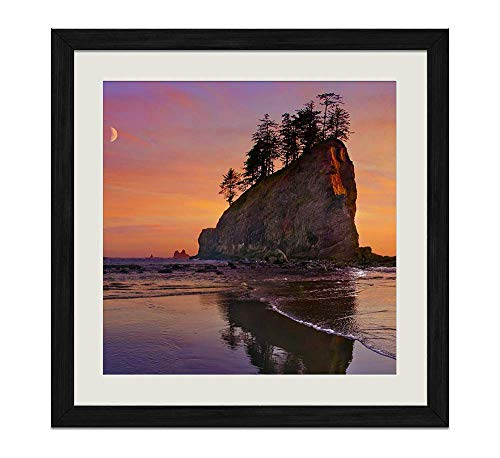 (YENOYE-SM Beach sea Coast Sunset Olympic National Park- Picture Art Print Black Wooden Frame Framed Posters Home Deco 16x16in )