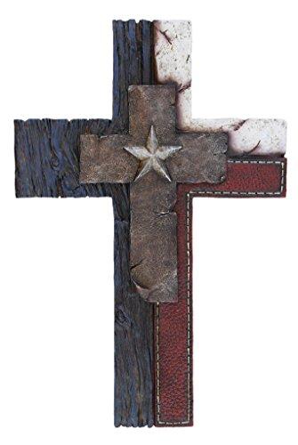 13 1 2  Red White   Blue Western Star Decorative Wall Cross   Texas Jesus Art